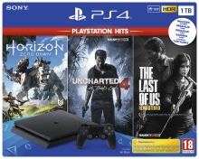 Sony PlayStation 4 Slim 1 TB + PS Hits (The Last of Us, Uncharted 4, Horizon Zero Dawn)