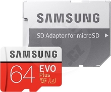 Samsung EVO Plus microSD Memory Card 64GB + SD adaptor