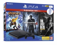 Sony PlayStation 4 Slim 1TB + PS Hits (Uncharted 4, The Last of Us, Ratchet and Clank)