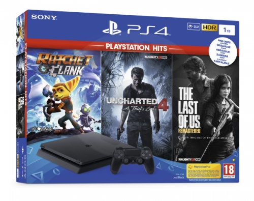 Sony PlayStation 4 Slim 1 TB + PS Hits (Uncharted 4, The Last of Us, Ratchet and Clank)