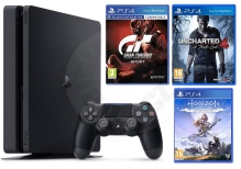 Sony PlayStation 4 Slim 500 GB + PS Hits (GT Sport, Uncharted 4, Horizon Zero Dawn CE)