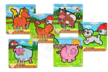 Teddies Mini wooden puzzle 9 pieces My first animals for the little ones 15x15x0.8cm asst