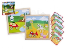 Teddies Magnetic wooden puzzle My first animals 57 pieces double-sided table 25x25 cm in a