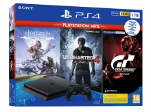 Sony PlayStation 4 Slim 1 TB + PS Hits (GT Sport, Uncharted 4, Horizon Zero Dawn CE)