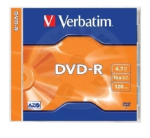 DVD-R Verbatim 4,7GB 16x, AZO, jewel, 1ks