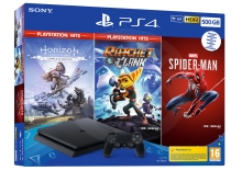 Sony PlayStation 4 Slim 500 GB + (Spider-Man, Horizon Zero Dawn CE, Ratchet and Clank)
