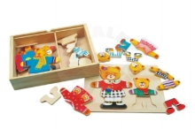 Puzzle Wardrobe bears wood color in a box 19x14x4cm