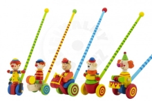 Teddies Clown pusher pushing 60cm wood with a stick mix of colors in a 12m + bag