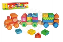 Train with houses wood 21 pieces in a box 43x10x10cm 18m +