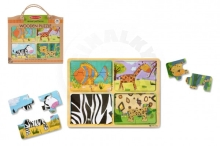 Lowlands Wooden board puzzle for the trip Animals 16pcs in a paper bag 31x27,5x1cm 2+